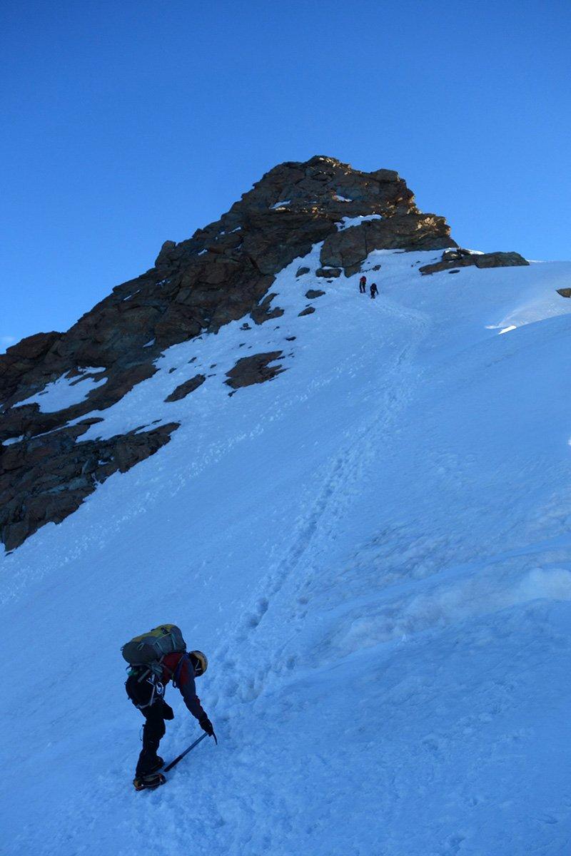 In salita verso il Gemello del Breithorn