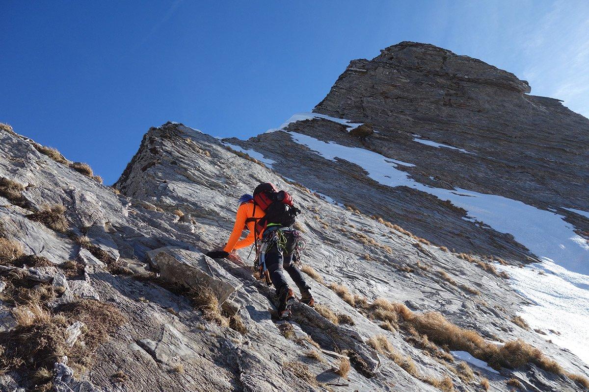 Salita molto secca alla cima principale (inverno 2018)